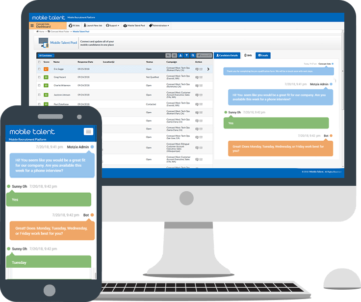 Automated SMS chat with mobile job application